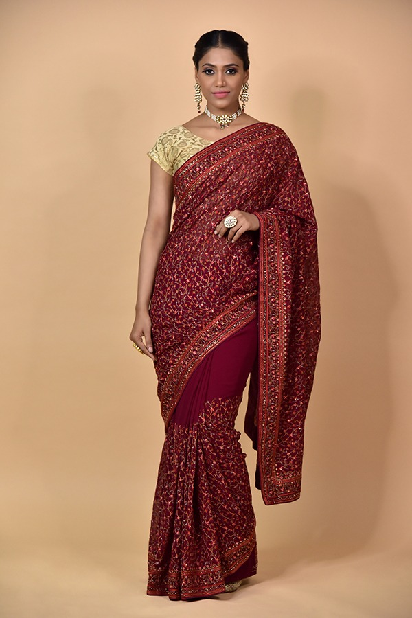 Surya Sarees   Georgette Wine Saree   Chandni Chowk