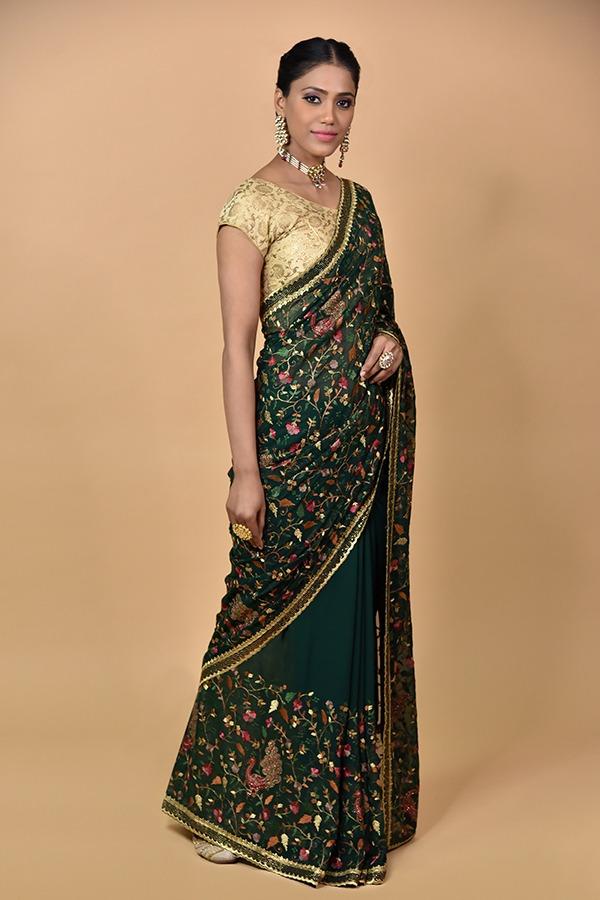 Bottle green saree | surya sarees | House of surya