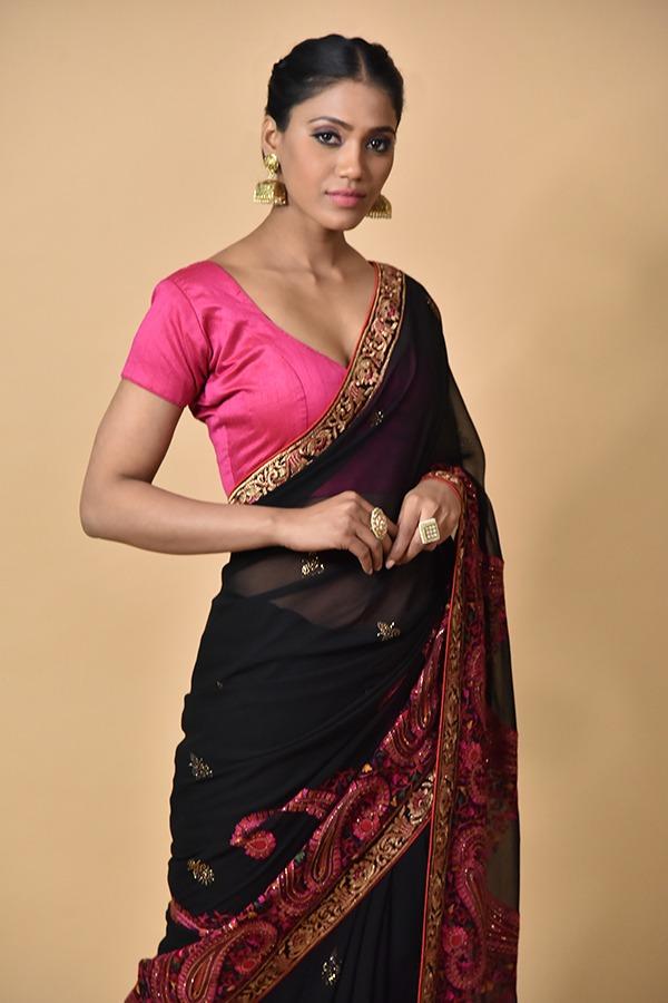 Surya sarees | Black Sarees | Chandni Chowk