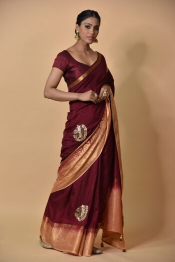 Surya Sarees | Wine Peach Sarees | ouse of Surya Chandni Chowk