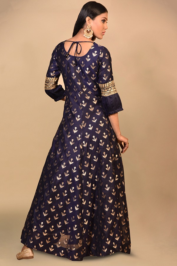 Carbon Blue Anarkali Dress