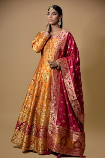 Mustard Multicolor Anarkali Dress