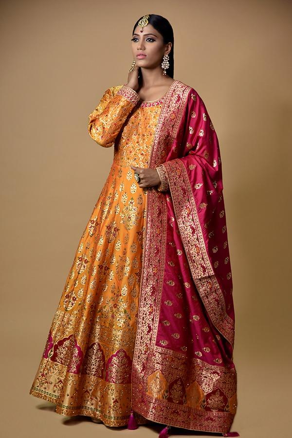 Mustard Multicolor Anarkali Dress