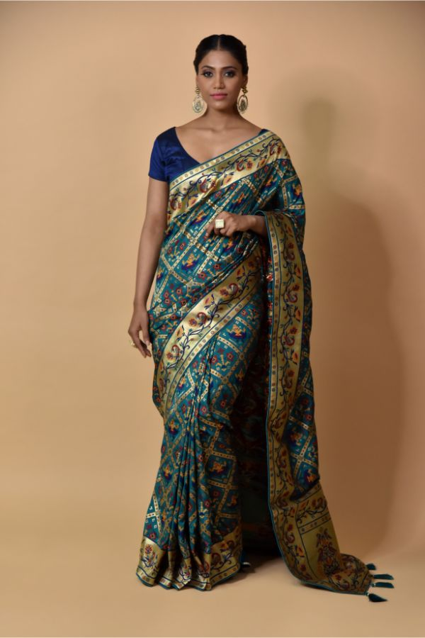 Buy latest Peacock Blue Saree | Surya Sarees | House of surya | chandni chowk | Old Delhi