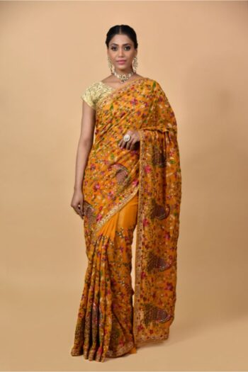 Mustard Georgette Saree
