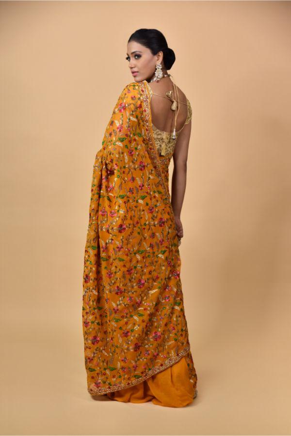 Mustard Georgette Saree