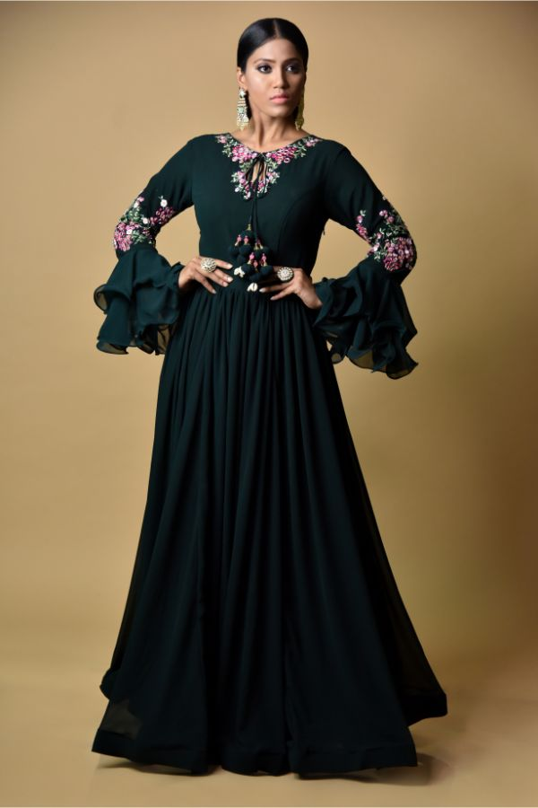 Bottle Green Anarkali Dress