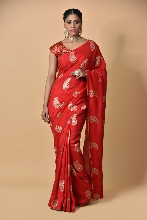 Red Dola Silk Saree