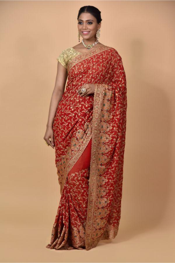 Surya Sarees | Red Georgette Saree | Maliwara Road Chandni Chowk Delhi