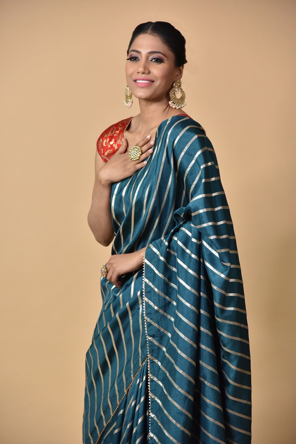 Peacock Blue Dola Silk Saree