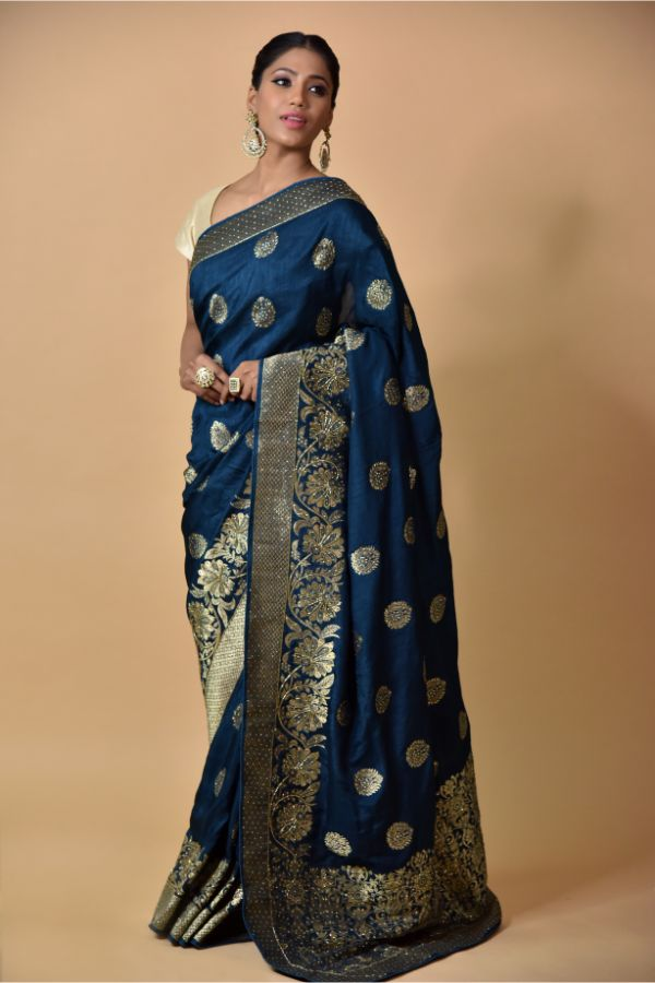 Peacock Blue Saree