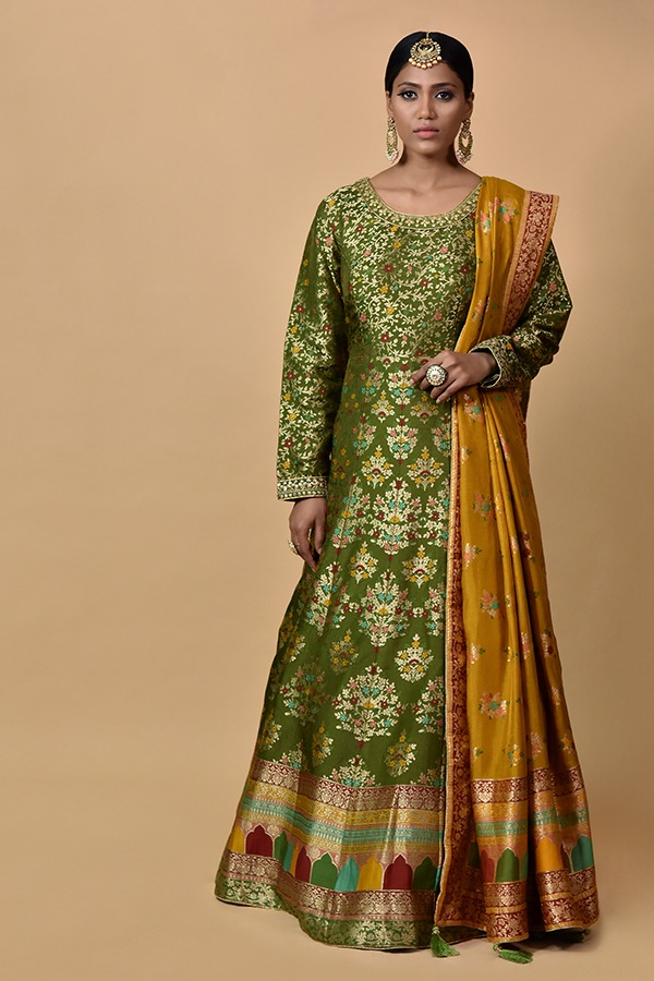 Wine Colour Anarkali Dress