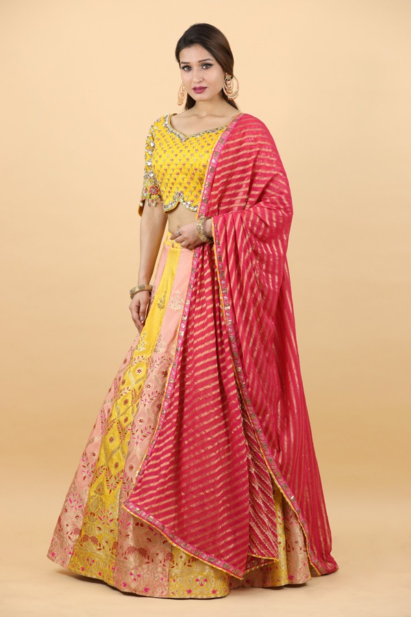 House of Surya | Yellow Khaddi Lehenga Choli | Surya Sarees