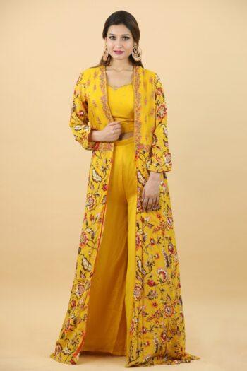 House of Surya | Yellow Jacket Dress | Surya Sarees