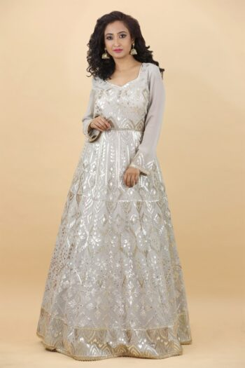 House of Surya   Grey Georgette Gown   Surya Sarees
