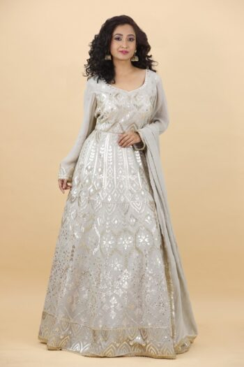 House of Surya | Grey Georgette Gown | Surya Sarees