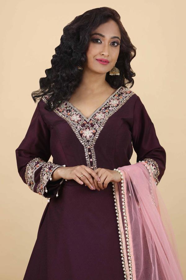 House of Surya | Wine Tapta Silk Gown | Surya Sarees