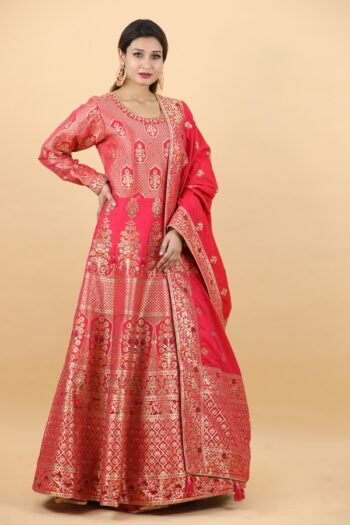 House of Surya | Red Brocade Gown | Surya Sarees