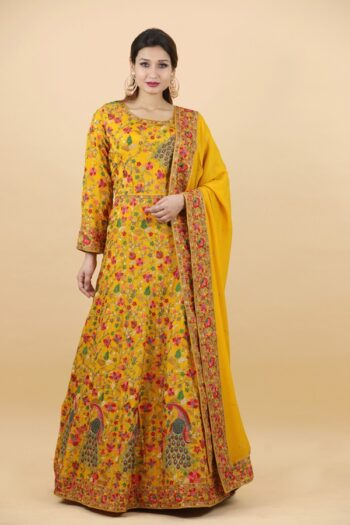 House of Surya | Yellow Georgette Gown | Surya Sarees