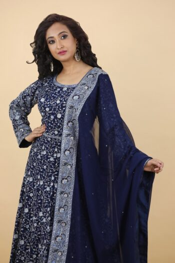 House of Surya | Navy Blue Georgette Gown | Surya Sarees