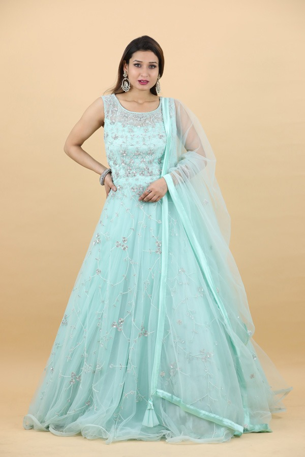 House of Surya | Sea Green Gown | Surya Sarees