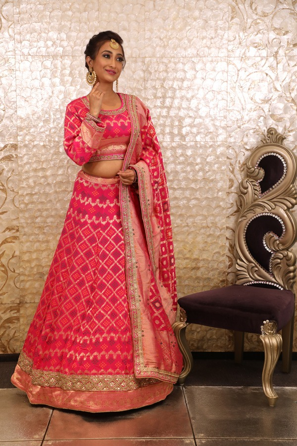 House of Surya | Red Brocade Lehenga Choli | Surya Sarees
