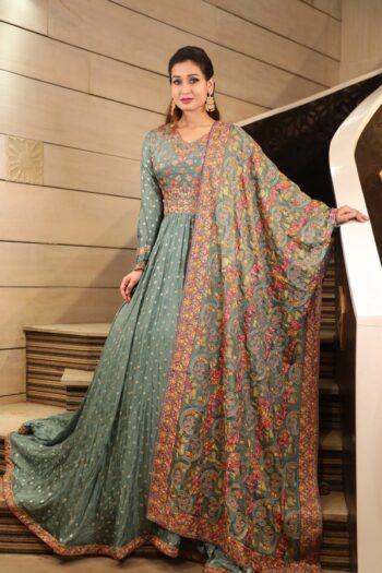 House of Surya | Grey Chinon Gown | Surya Sarees