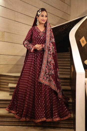 House of Surya | Wine Brocade Gown | Surya Sarees