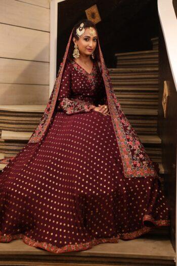 House of Surya   Wine Brocade Gown   Surya Sarees