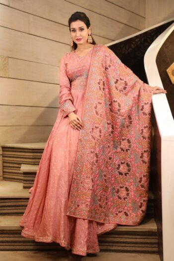 House of Surya | Pink Chinon Gown | Surya Sarees