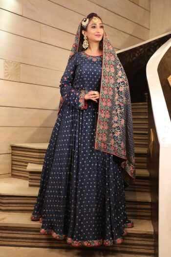 House of Surya | Neavy Blue Chinon Anarkali Dress | Surya Sarees
