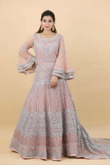 House of Surya | Heavily Design Peach Colour Gown | Surya Sarees