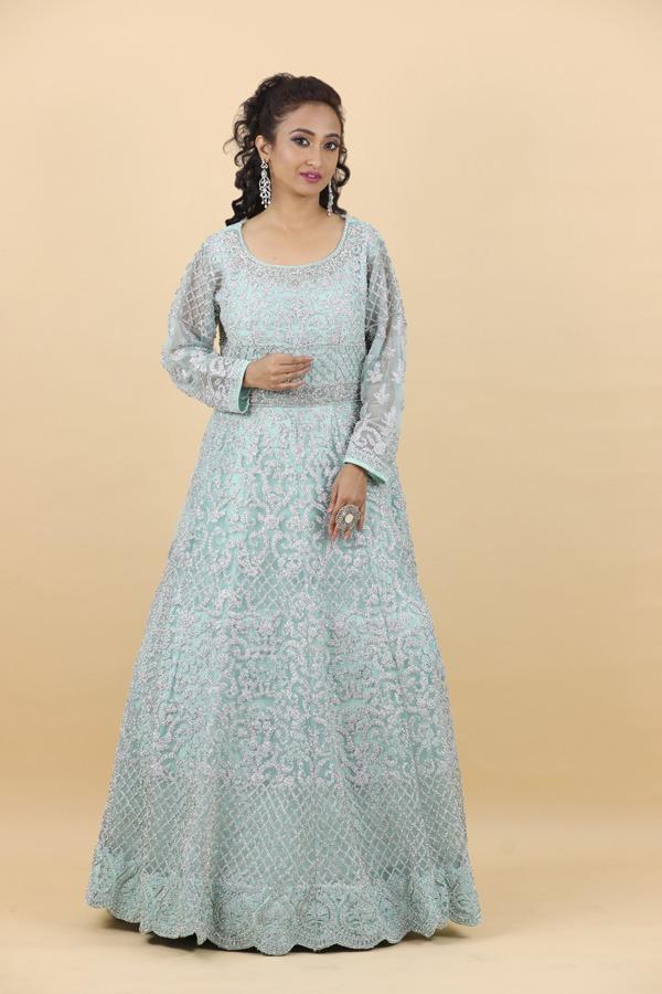 House of Surya | Light Firozi Gown | Surya Sarees