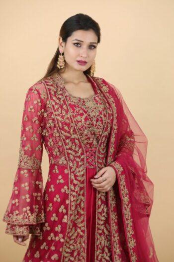 House of Surya | Rani Colour Indo-Western Dress | Surya Sarees