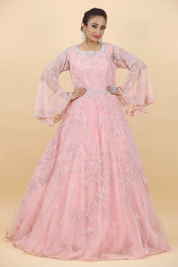 House of Surya | Pink Color Net Fabric Gown | Surya Sarees