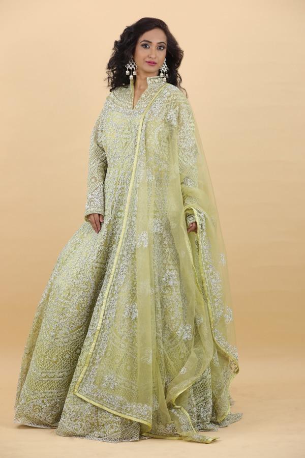 House of Surya | Pista Color Anarkali Dress | Surya Sareees