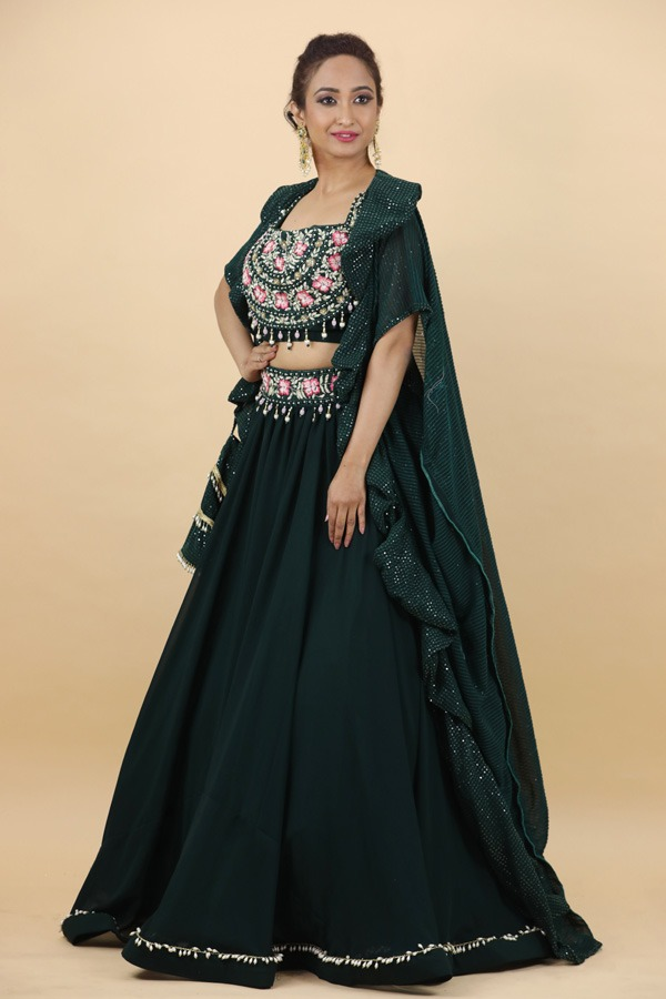 House of Surya | Bottel Green Lehenga Choli | Surya Sarees