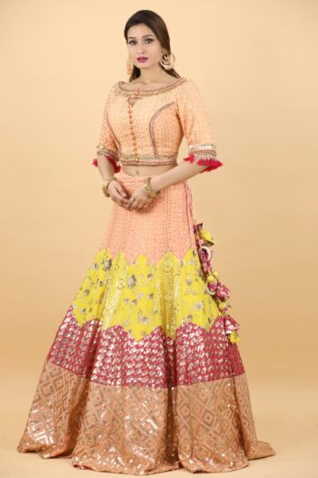 House of Surya | Yellow Brocade Lehenga Choli | Surya Sarees