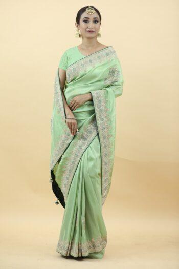 Pista Colour Saree   surya sarees   House of surya