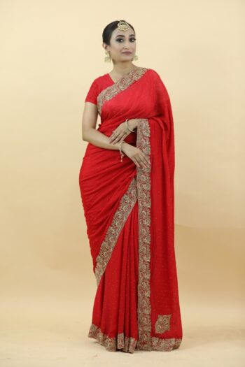 Red Chinnon Saree | House of surya | surya sarees