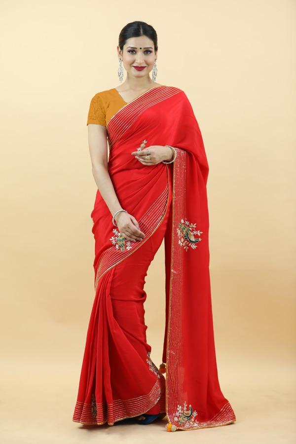 Red Silk Saree   House of Surya   Surya sarees