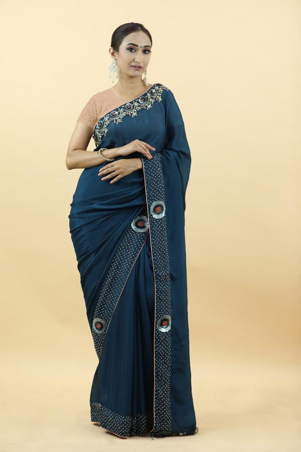 Blue Shinon saree   House of Surya   Surya sarees