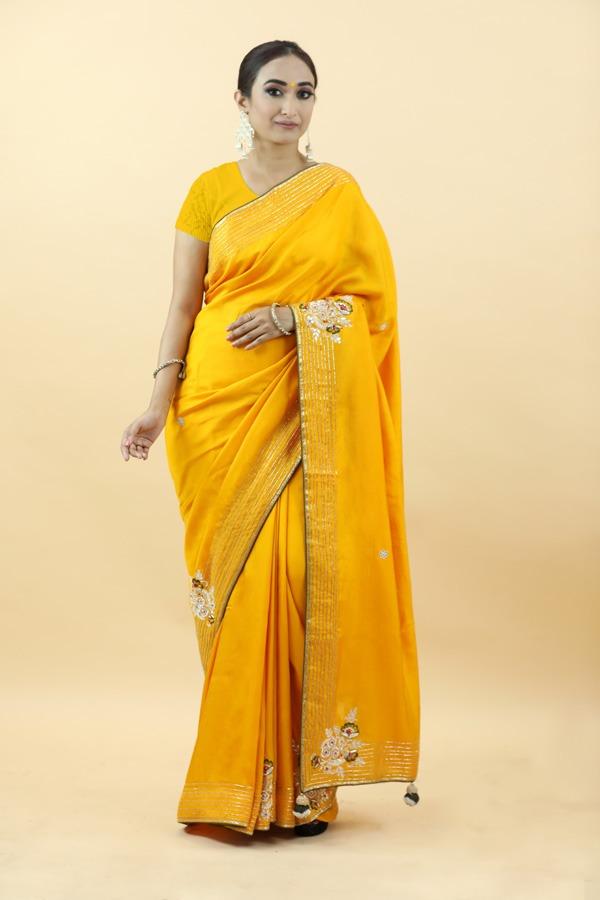 Mustard Dola Silk Saree | House of Surya