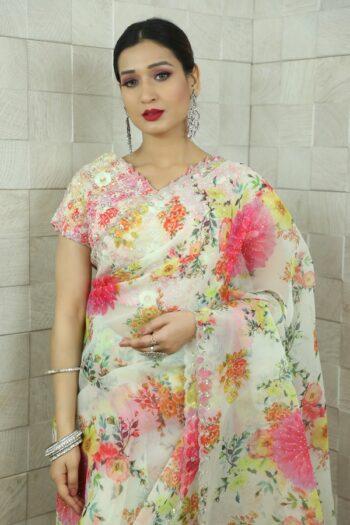 Lavender Saree in Organza   Surya sarees   House of surya