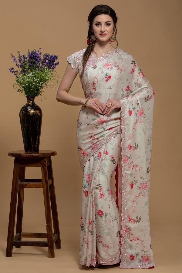 Ivory Saree in Crepe Satin | House of Surya | Surya Sarees
