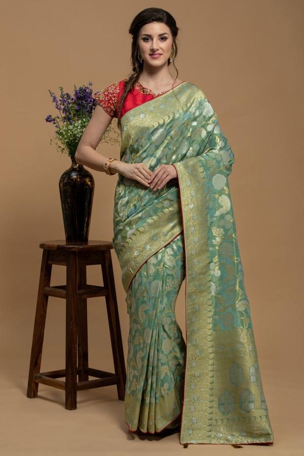 Aqua Green Saree | House of surya | Surya sarees