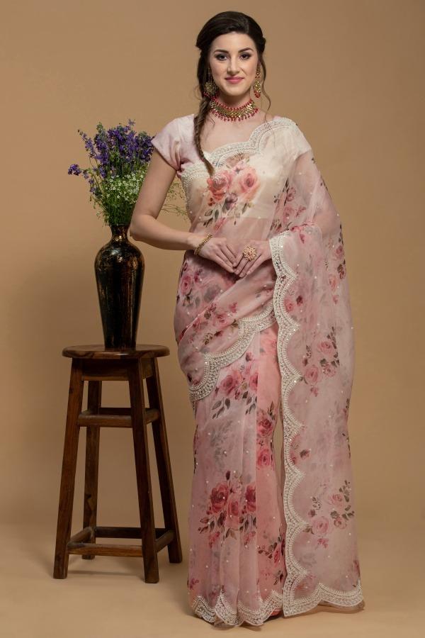 Peach Saree in Organza | House of surya | Surya sarees