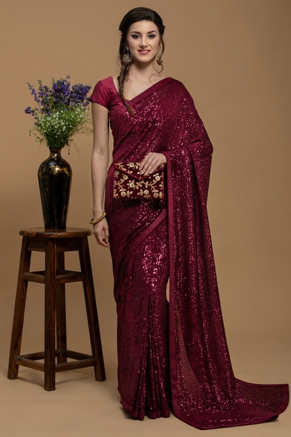 Reddish Mehroon Saree | House of surya | surya sarees