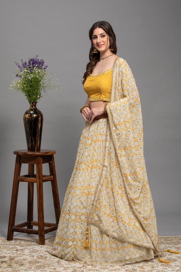 Ivory with Mustard yellow Lehenga Choli   House of surya   surya sarees