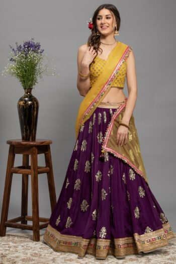 Purple with Yellow Lehenga Choli | house of surya | surya sarees